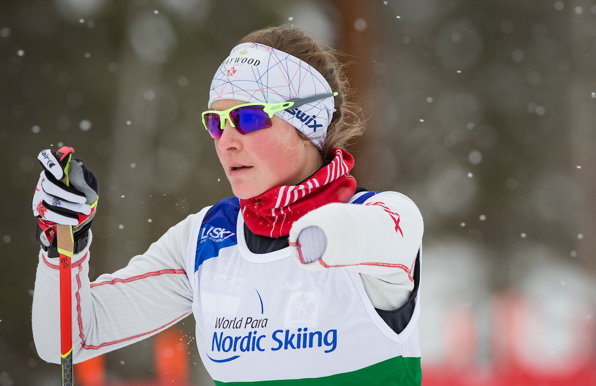 Brittany Hudak in action at the 2019 World Para Nordic Skiing Championships
